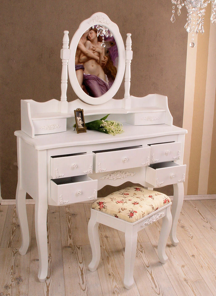 shabby chic schminkkonsole frisierkommode hocker weiss landhausstil ebay. Black Bedroom Furniture Sets. Home Design Ideas