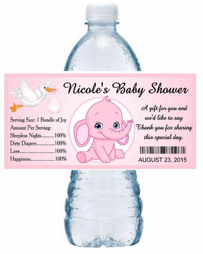 20 PINK ELEPHANT BABY SHOWER WATER BOTTLE LABELS PARTY FAVORS ...