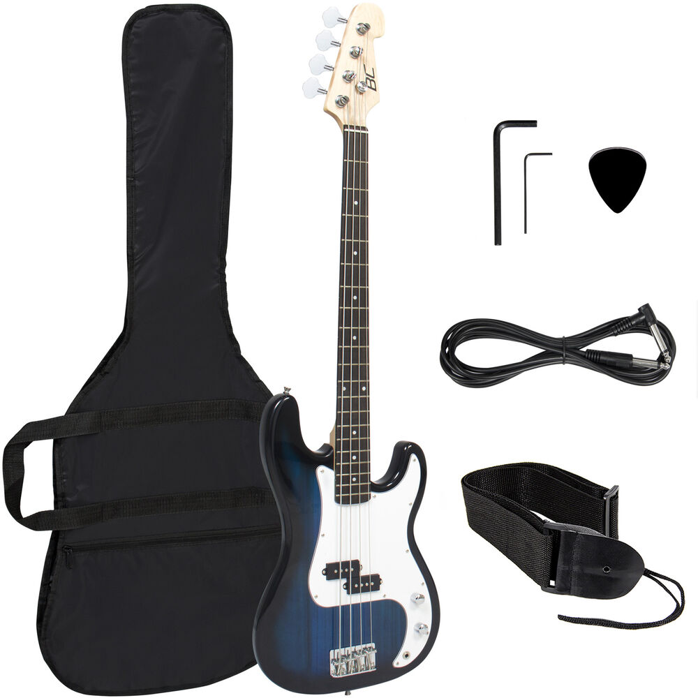 blue electric bass guitar includes strap guitar case amp cord and more ebay. Black Bedroom Furniture Sets. Home Design Ideas