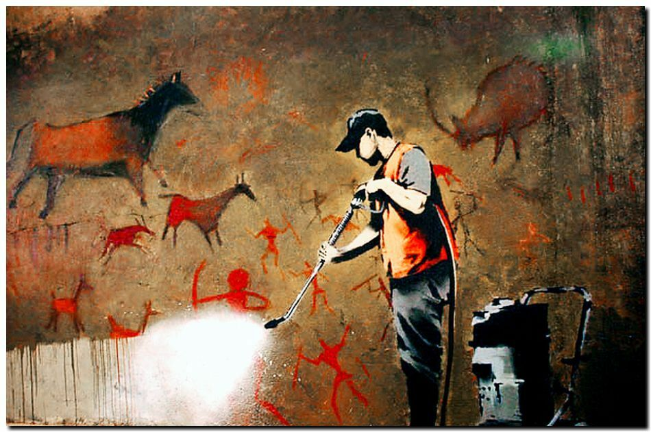 Banksy street art framed canvas print spray wash cave for Banksy mural painted over