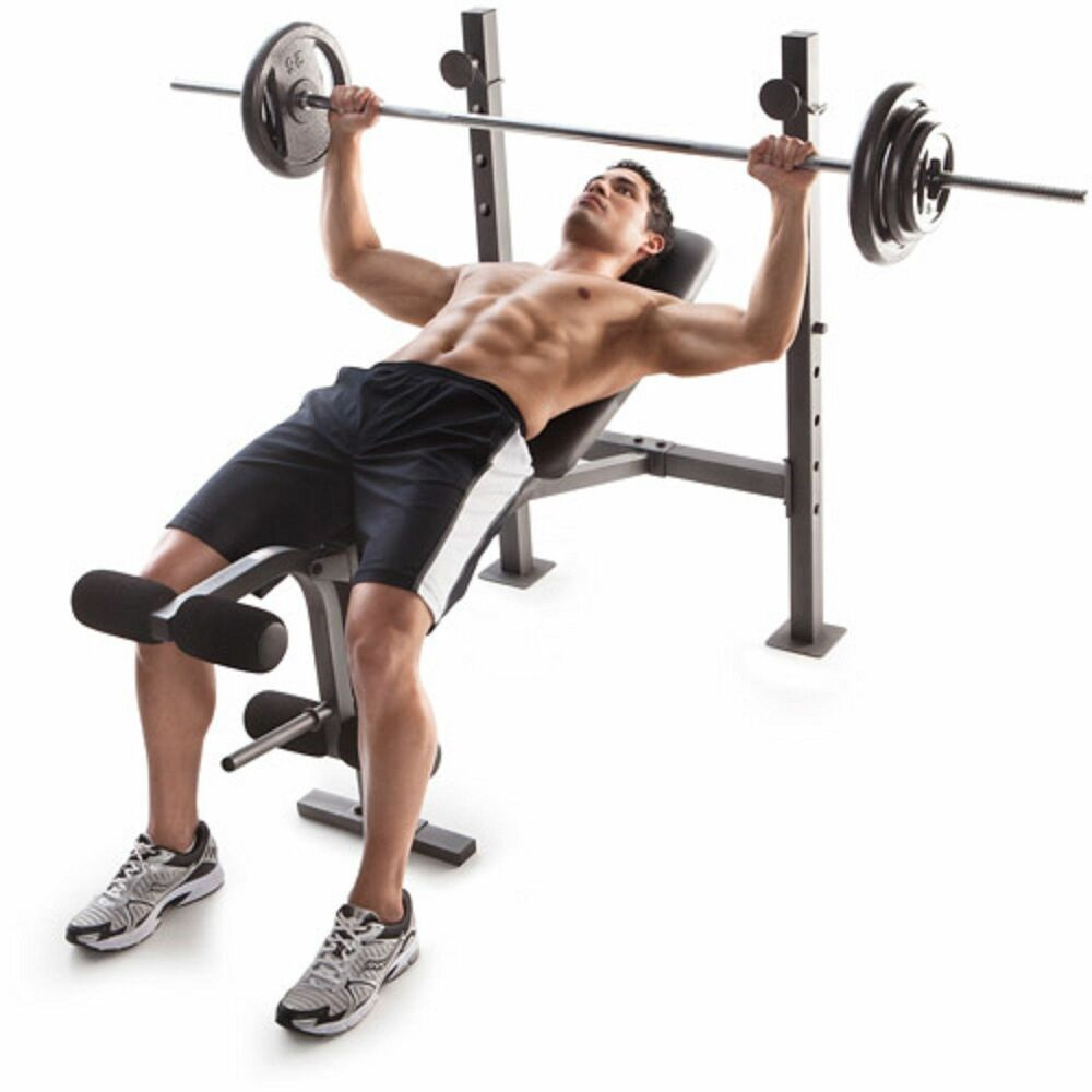Free Weights On Bench: Golds Gym Bench Press Weights Lifting Barbell Exercise
