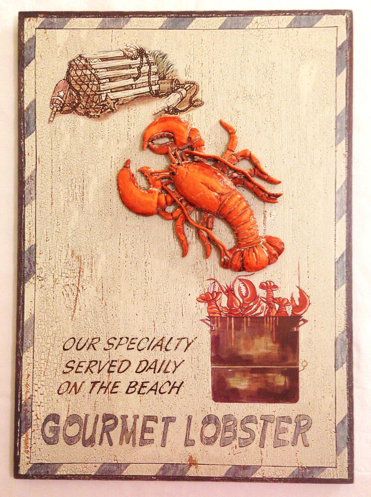 Large Lobster Wall Decor : Lobster served daily on the beach wood wall plaque sign