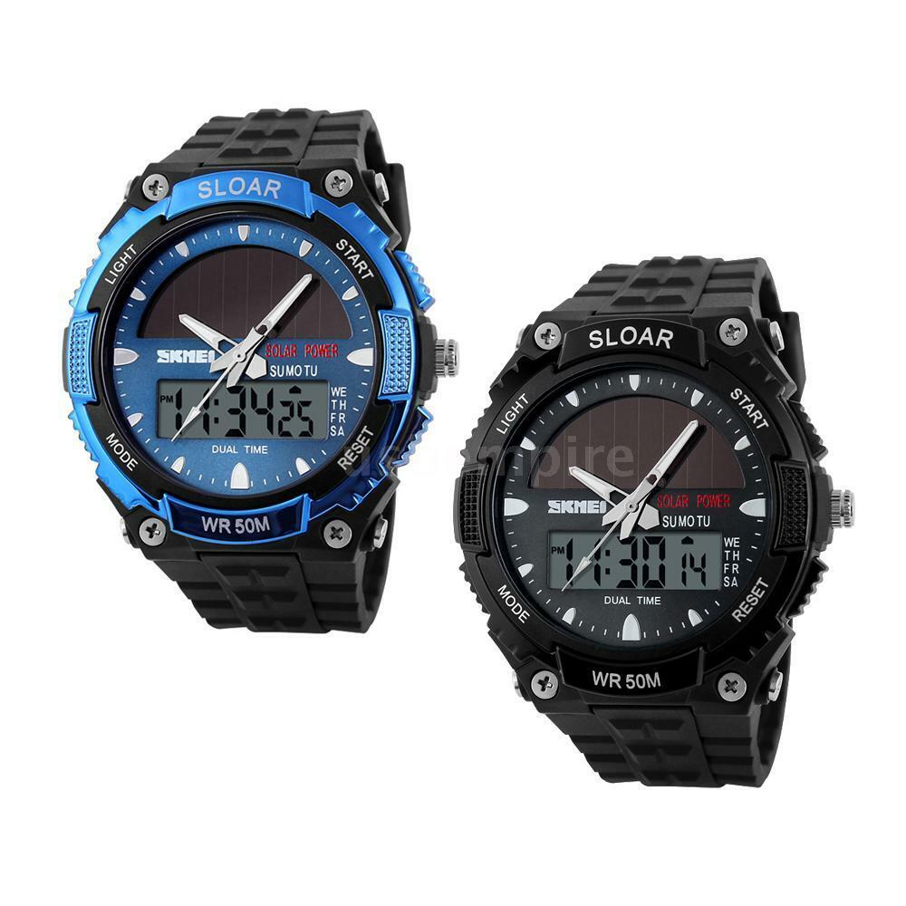 Ladies women 39 s solar powered watches dual time waterproof sport military watch ebay for Solar watches