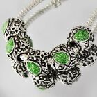 A4929 5pcs White GF/Silver Green Enamel Beads Fit European Charm Bracelet