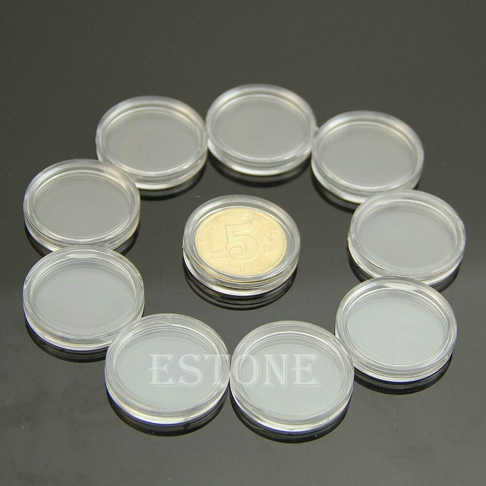 10 PCS Applied Clear Round Cases Coin Storage Capsules