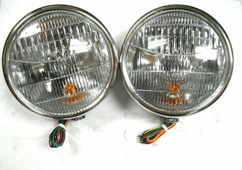 1932 Ford Headlights : Style stainless halogen head lamps w turn signal