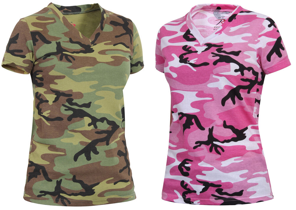 Womens camo t shirt v neck longer length camouflage shirt for Camouflage t shirt design