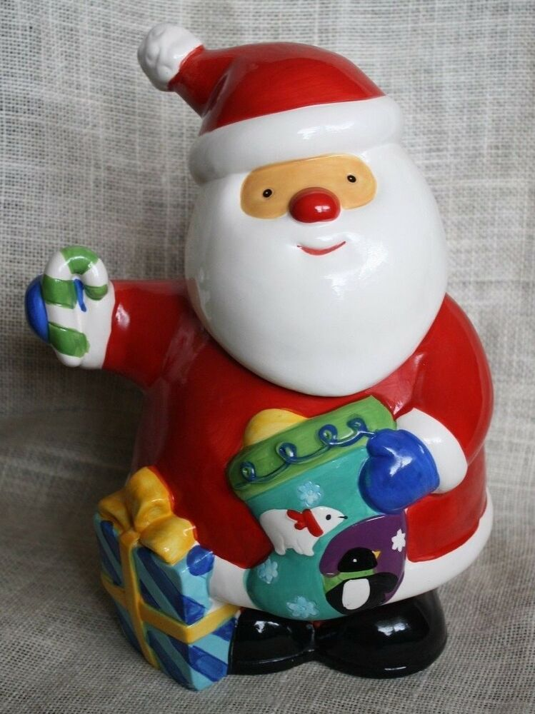 "Unmarked Ceramic 11"" JOLLY SANTA CLAUS COOKIE JAR Christmas XMAS ..."