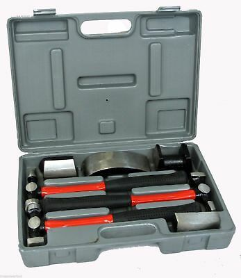 7 Pc Heavy Duty Dent Auto Body Fender Repair Hammer Dolly Professional Kit