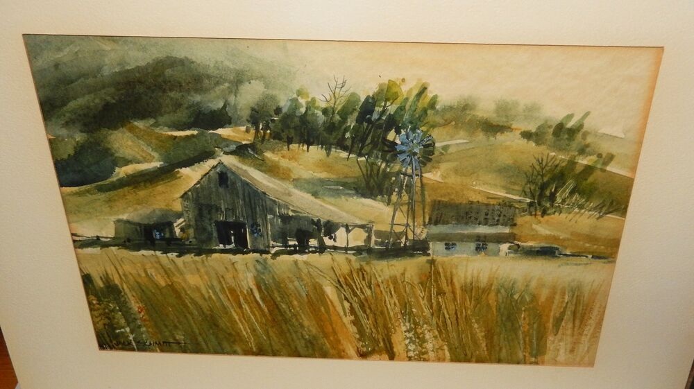 Jack Schmitt Windmill Barn Original Watercolor Painting Ebay