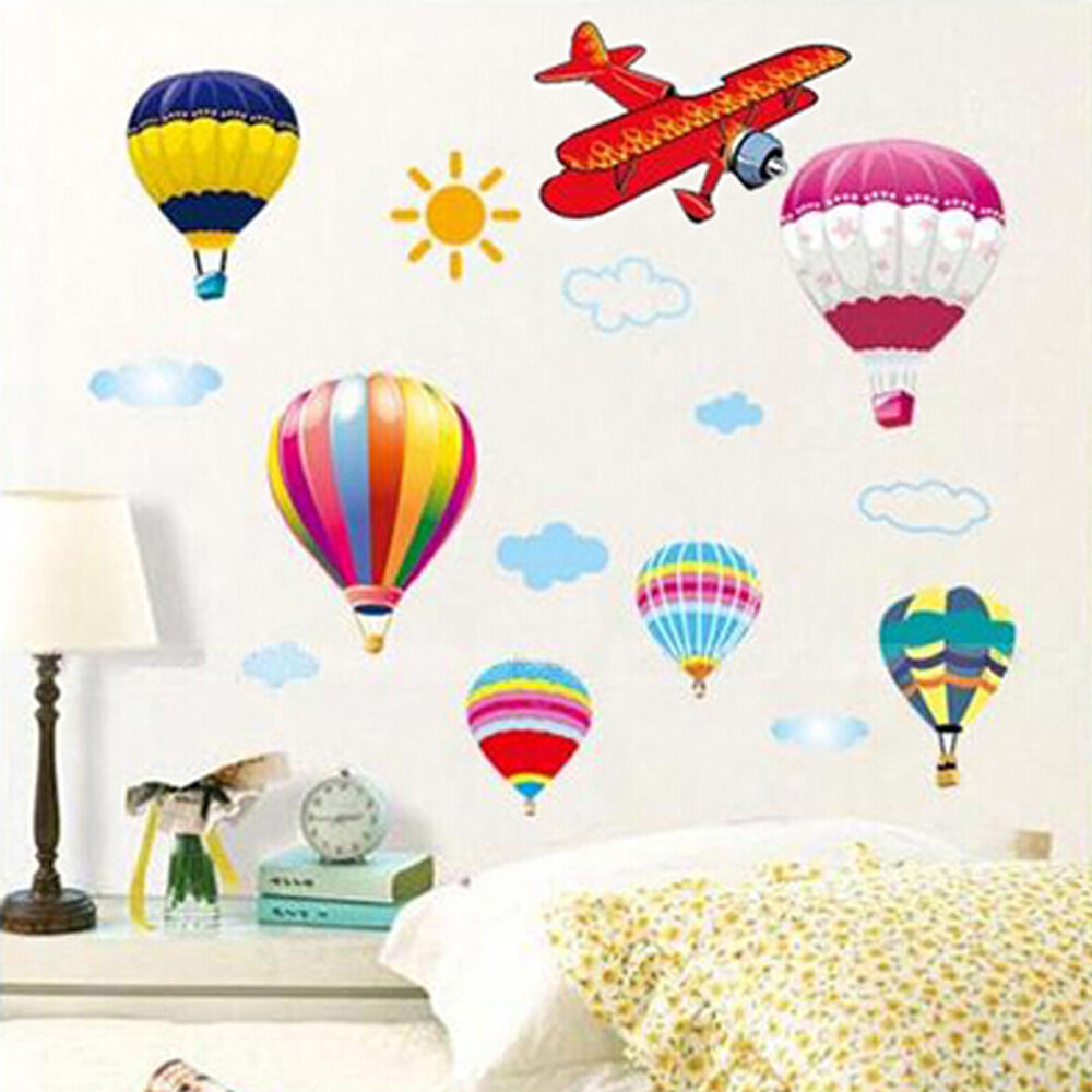 Hot Air Balloon & Planes Cloud Sky DIY Wall Sticker Home