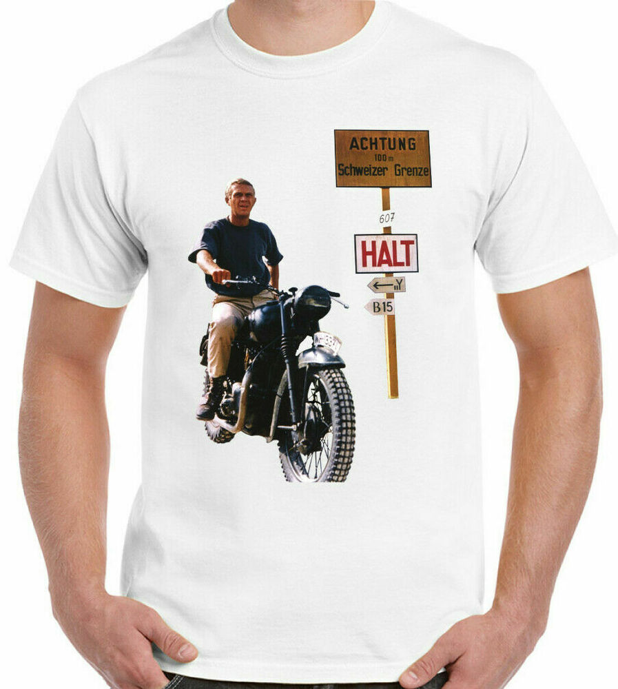 the great escape steve mcqueen mens retro movie t shirt ebay. Black Bedroom Furniture Sets. Home Design Ideas