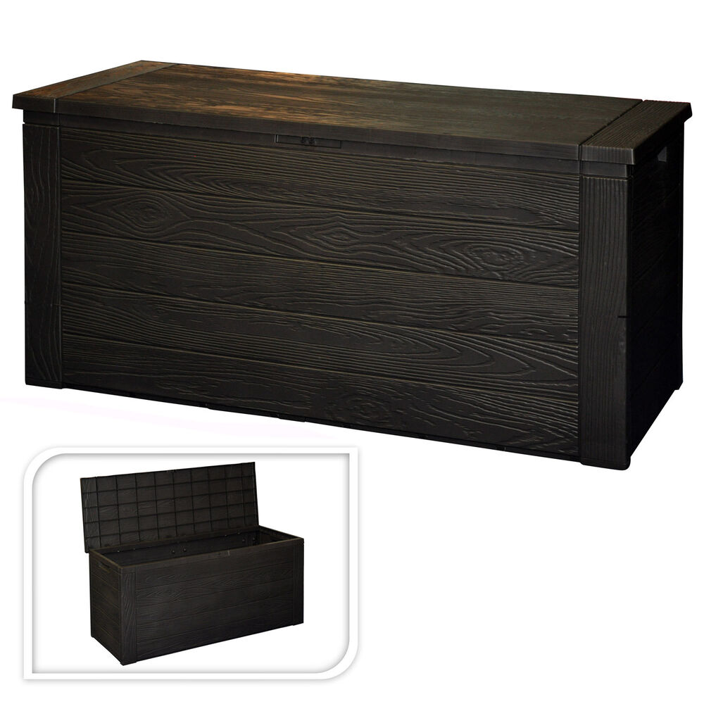 300L BLACK PLASTIC GARDEN STORAGE BOX WATERPROOF PATIO FURNITURE OUTSIDE CUSH