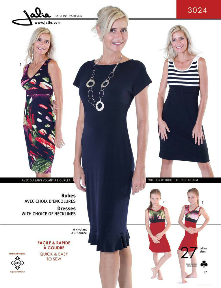Jalie Empire-Waist Knit Dress w/3 Bodice Options Quick Easy Sewing Pattern 30...