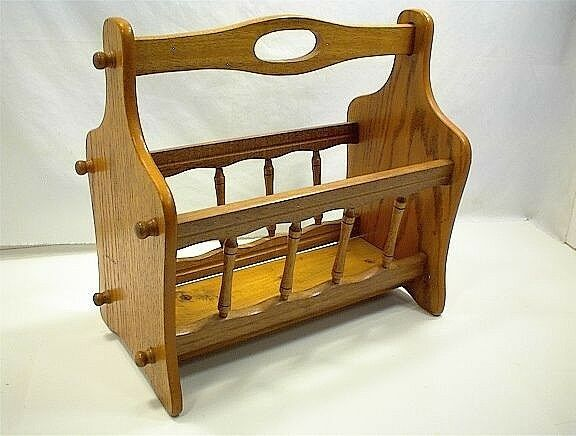 Vintage wood magazine rack dowel newspaper storage home for Magazine racks for home
