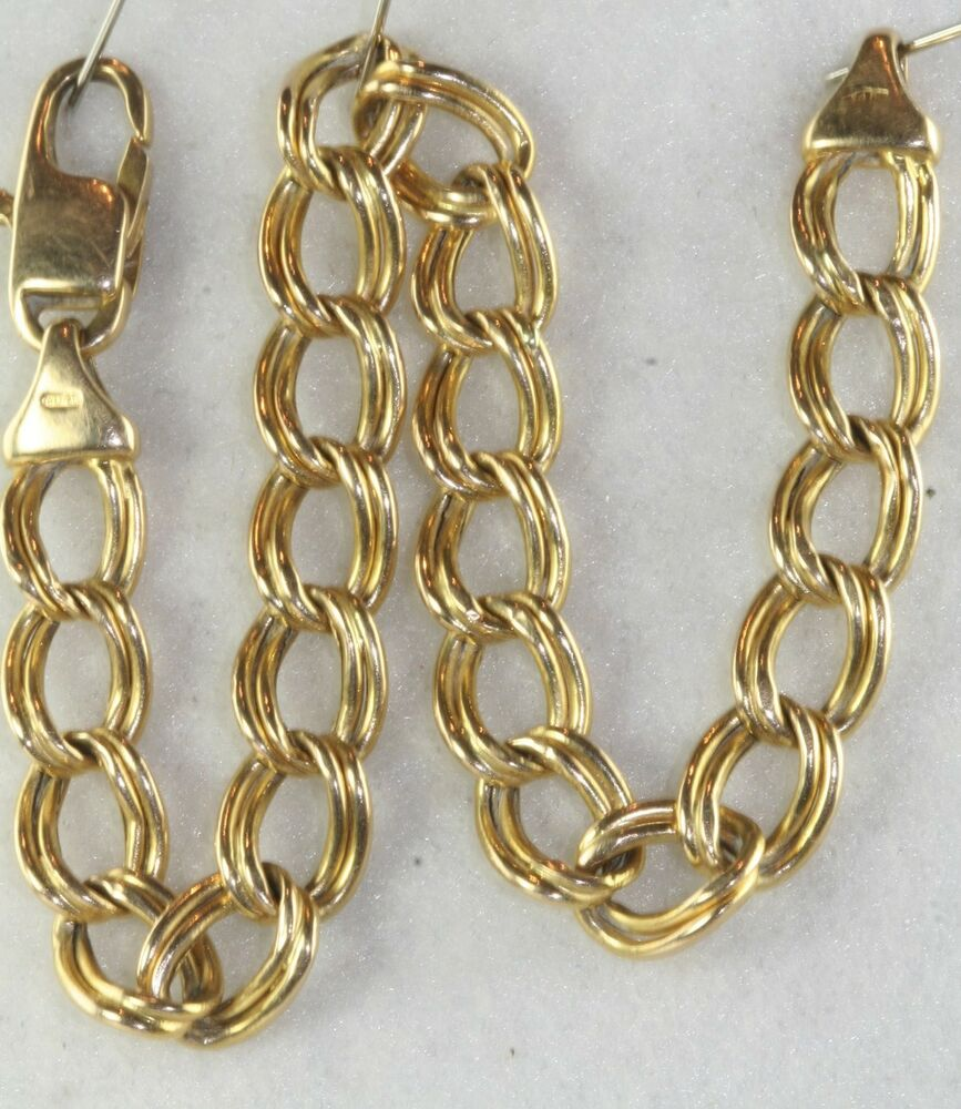 Charm Bracelet Gold: VINTAGE ITALIAN ITALY 14K GOLD DOUBLE WIDE LINK CHARM
