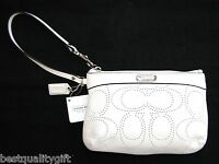 COACH WHITE SIGNATURE PERFORATED LEATHER LOGO WRISTLET,CLUTCH BAG NEW+TAG #47330