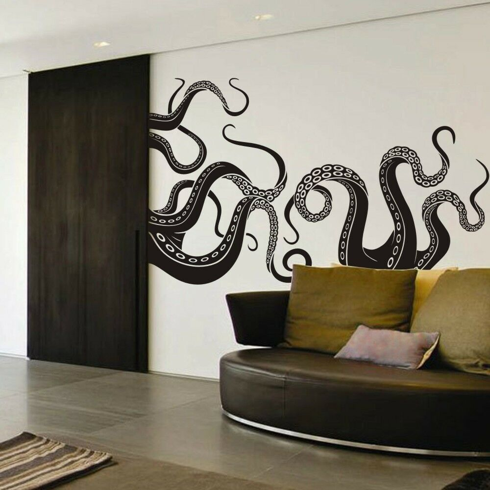 octopus tentacle wall decal motivation sea monster squid room vinyl mural decor ebay. Black Bedroom Furniture Sets. Home Design Ideas