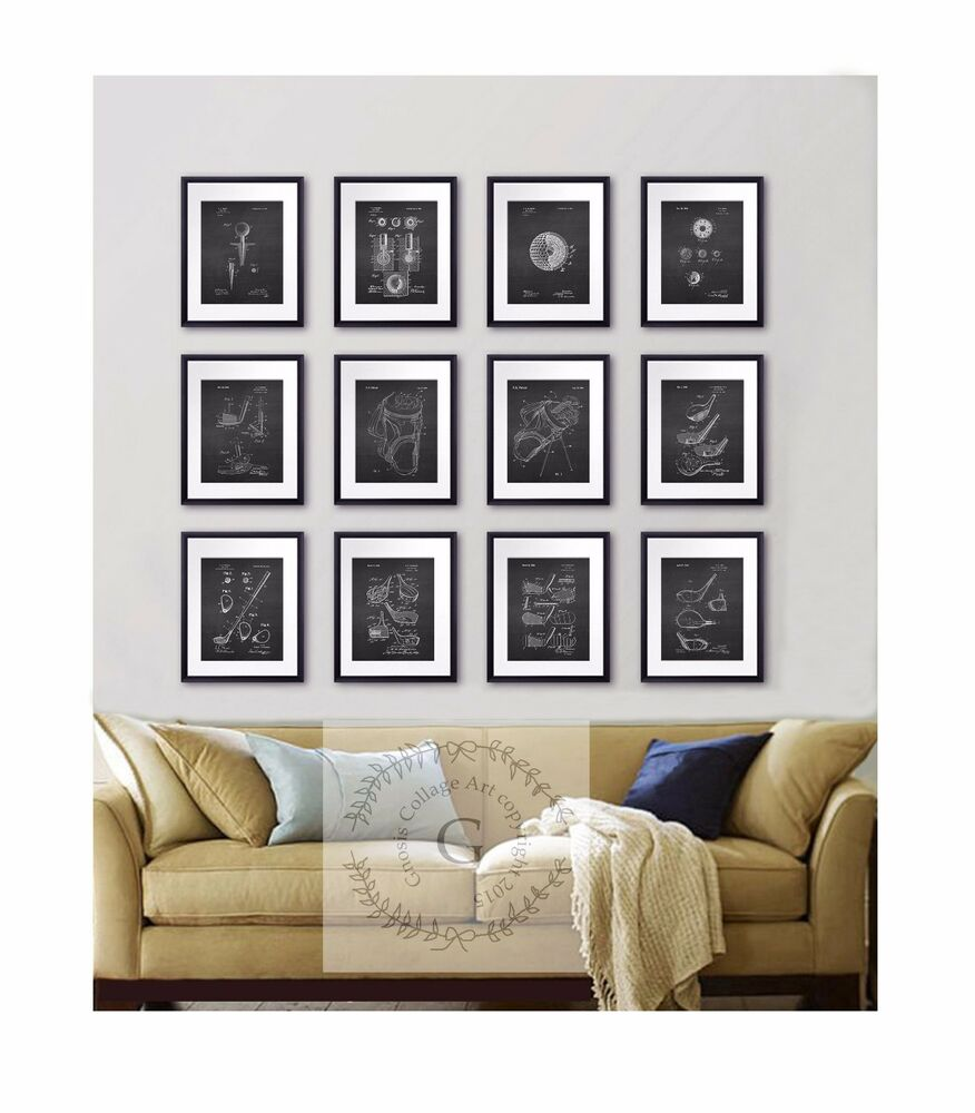 Office Pictures For Walls Golf: Golf Wall Decor Set Of 12 Prints Black And White Golf