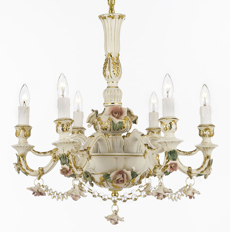 Authentic Capodimonte Porcelain Chandelier Made in Italy w