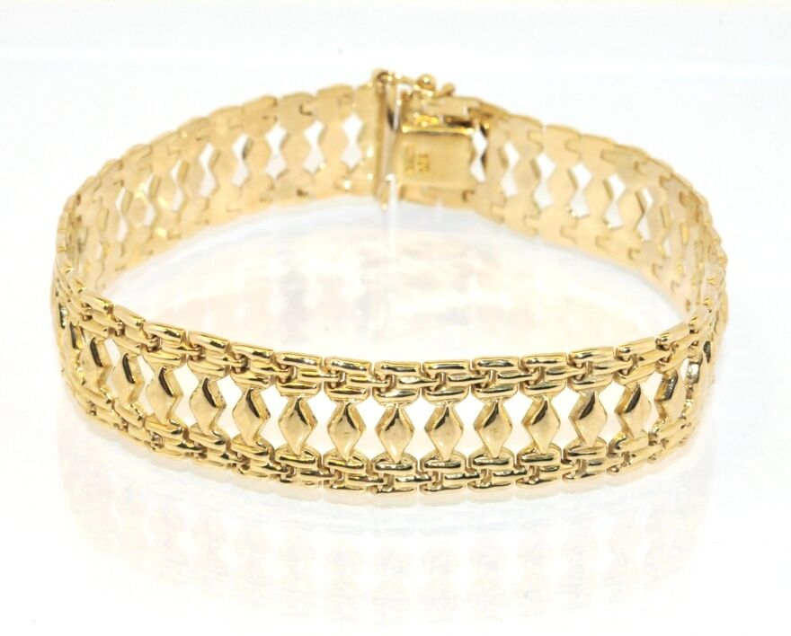 Polished cleopatra link status bracelet 14k yellow gold ebay for What is gold polished jewelry