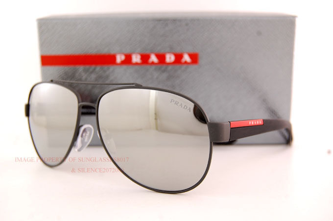 d05c46301bc97 Details about New Prada Sport Sunglasses PS 55QS TIG 2B0 BLACK RUBBER GREY  WITH SILVER MIRROR