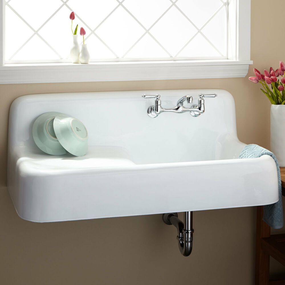 Signature hardware 42 cast iron wall hung kitchen sink with drainboard ebay - Kitchen sink draining board ...