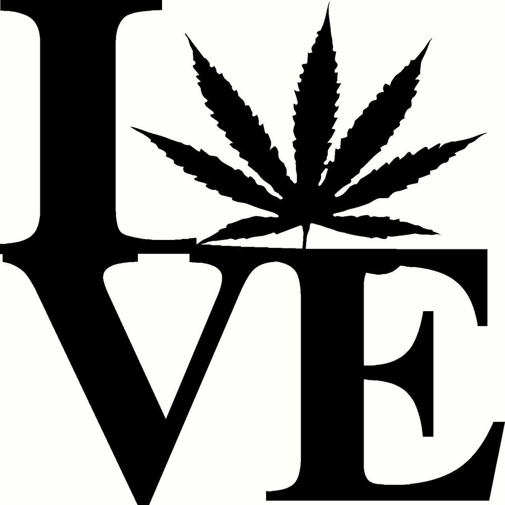 Love With Pot Leaf Decal Wall Or Car Marijuana Weed