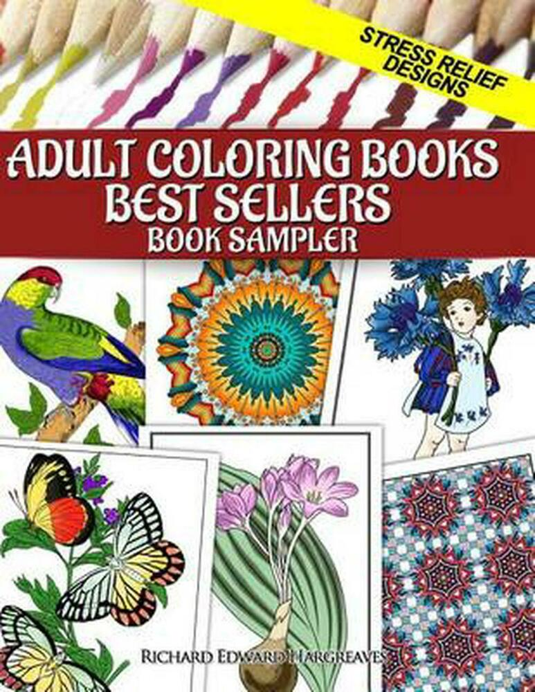 New adult coloring books best sellers sampler stress relief designs