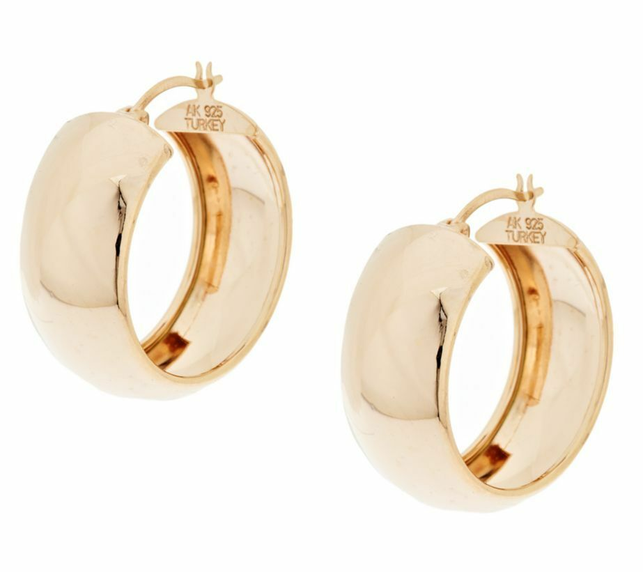 qvc polished wedding band hoop earrings 14k yellow rose. Black Bedroom Furniture Sets. Home Design Ideas