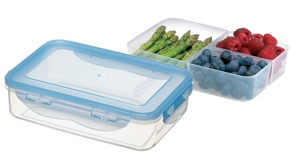 large airtight 3 section plastic food storage container ideal for a lunch box ebay. Black Bedroom Furniture Sets. Home Design Ideas