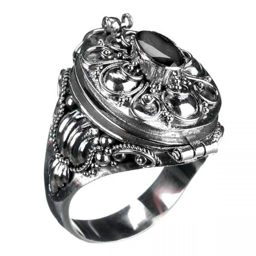 gift ring mit onyx 925er silber ring gothic stein ebay. Black Bedroom Furniture Sets. Home Design Ideas