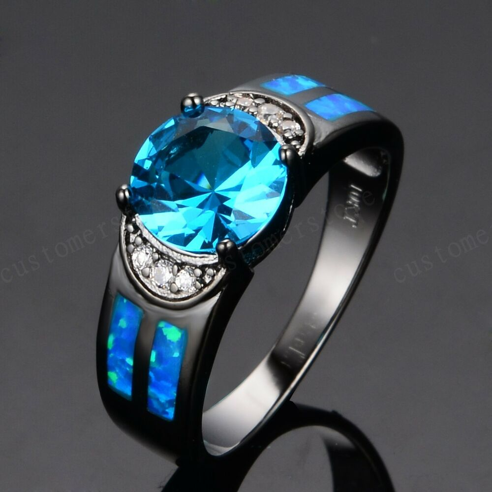 Blue Fire Opal Aquamarine CZ Women Men s Wedding Ring 10KT Black GF Sz 6