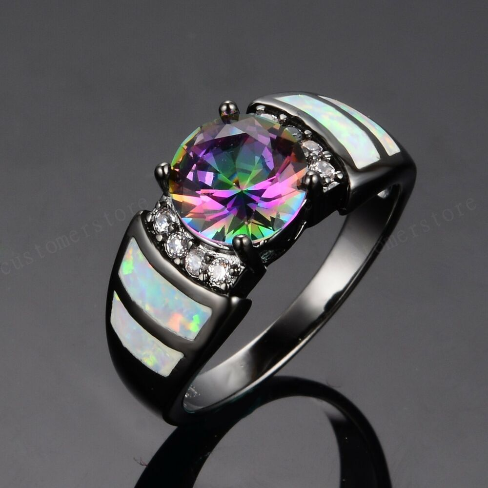 sz6 9 women 39 s jewelry white fire opal colorful cz 10kt. Black Bedroom Furniture Sets. Home Design Ideas