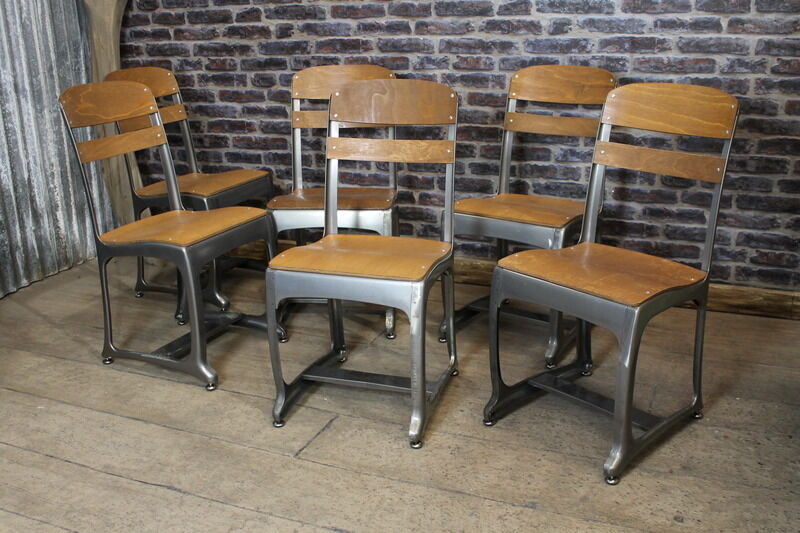 Set of 6 gun metal eton vintage retro industrial style seating restaurant chairs ebay - Reasons choosing vintage style furniture ...