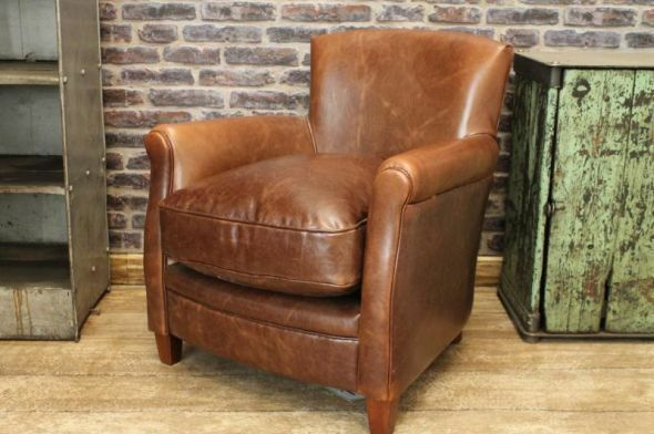 ANTIQUE VINTAGE RETRO STYLE BROWN LEATHER ARMCHAIR THE MAYFAIR FIRESIDE CHAIR