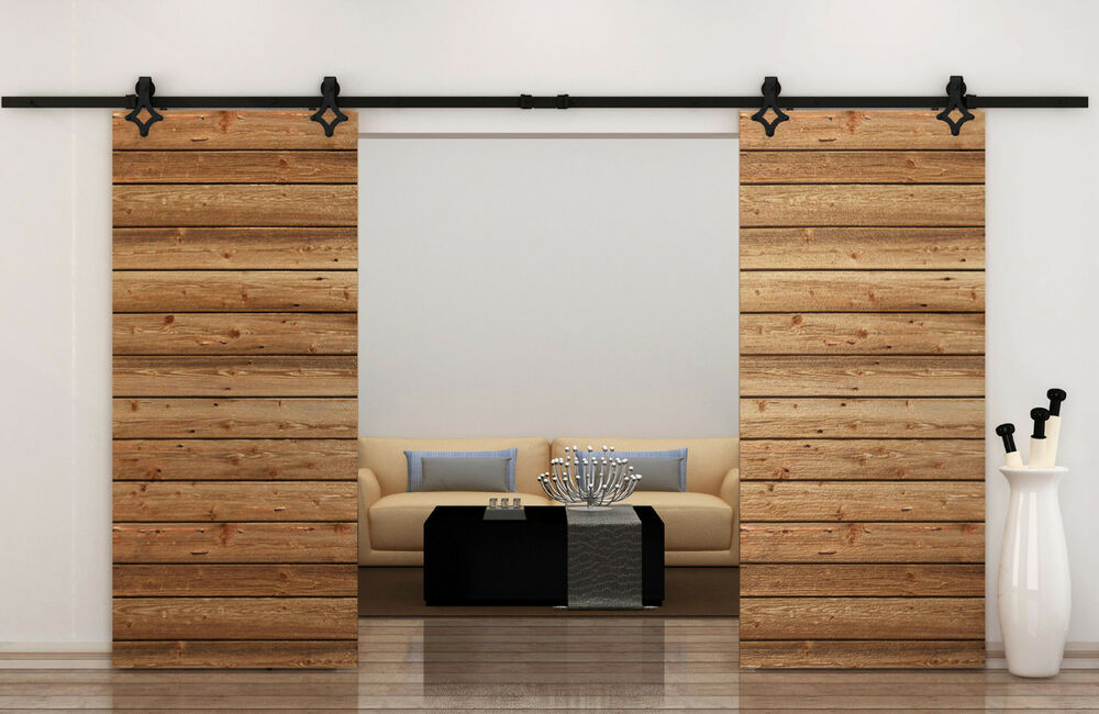 12ft Country Style Black Barn Wood Steel Double Sliding