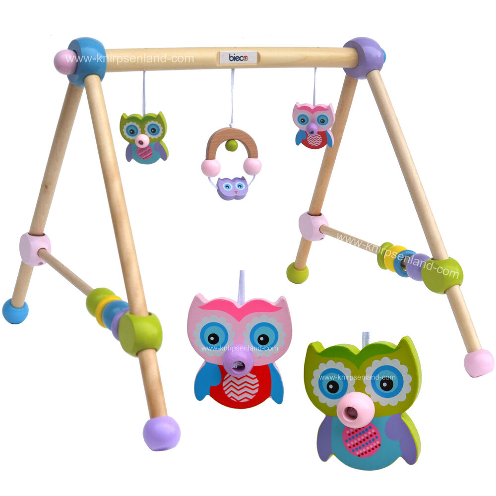 bieco eule holzgym spieltrapez holz gym spieltrainer spielcenter spielbogen baby ebay. Black Bedroom Furniture Sets. Home Design Ideas