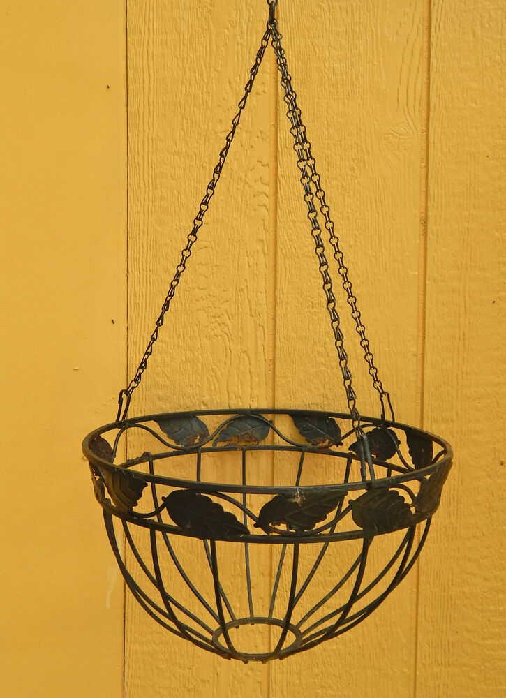 Wrought Iron Round Garden Hanging Basket Planter 16 Quot Leaf