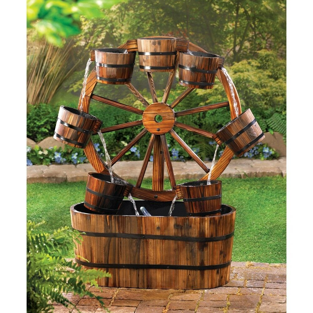 Wagon wheel water fountain rustic fir wood garden patio Outdoor water fountains
