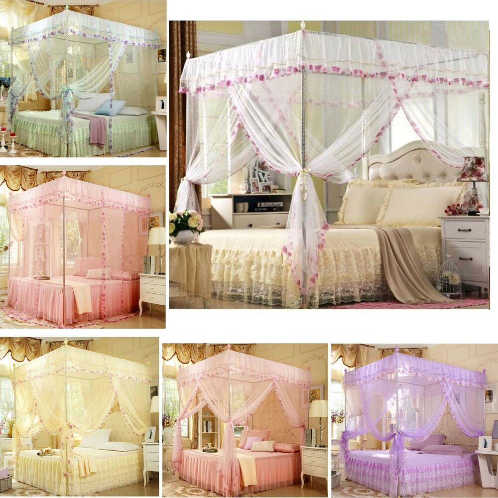 Princess 4 Corners Post Bed Canopy Mosquito Net Twin Full