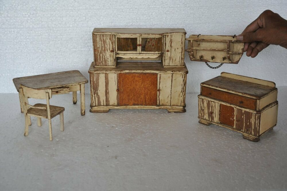 Rare 4 Pc Set Of Old Wooden Handcrafted Baby Doll House Furniture Germany Ebay