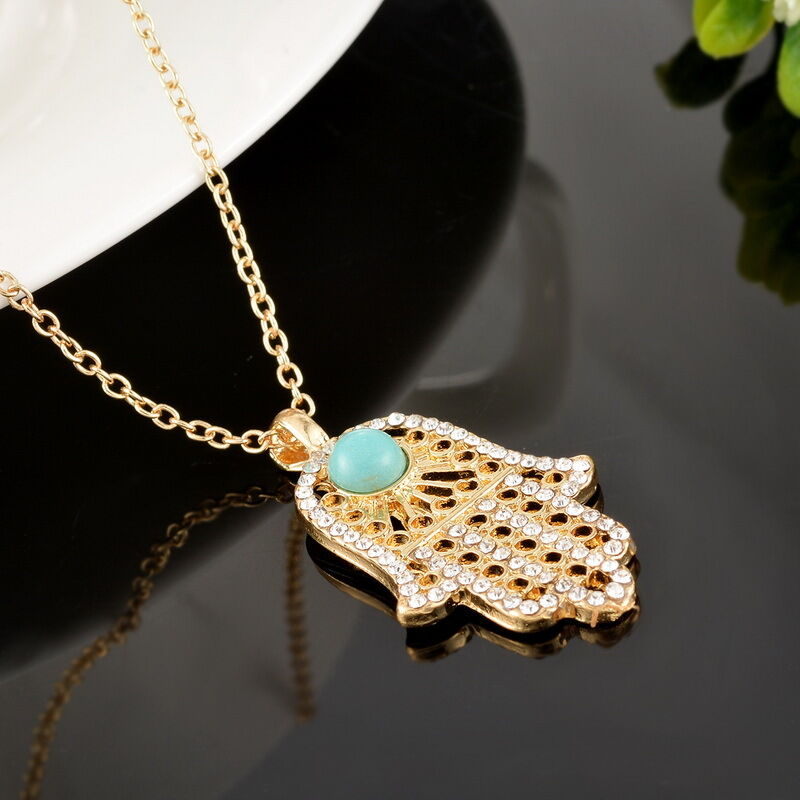 bd turquoise hamsa fatima hand pendant necklace charms. Black Bedroom Furniture Sets. Home Design Ideas