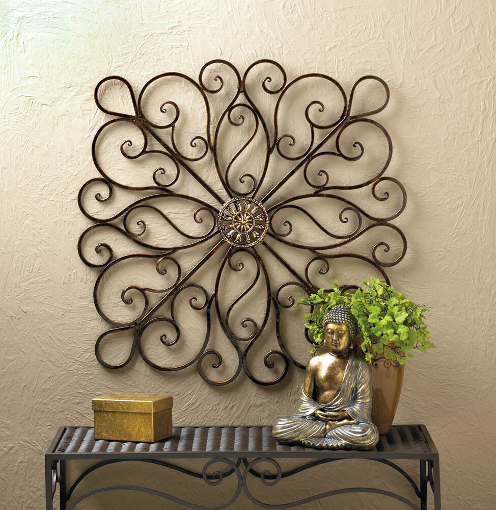 Wrought iron scrollwork wall decor 36 tall new 10016153 ebay - Plaque decorative murale ...