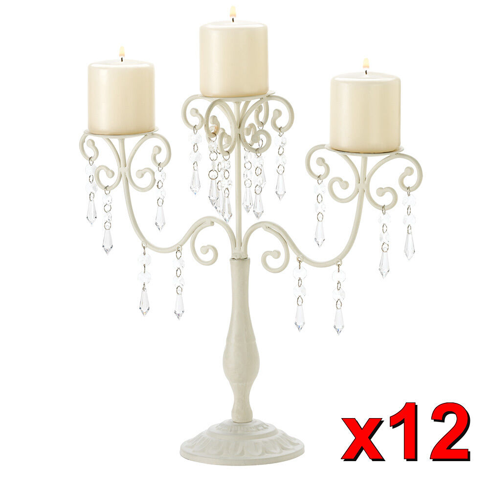 Wedding candelabra jeweled ivory candle holder table