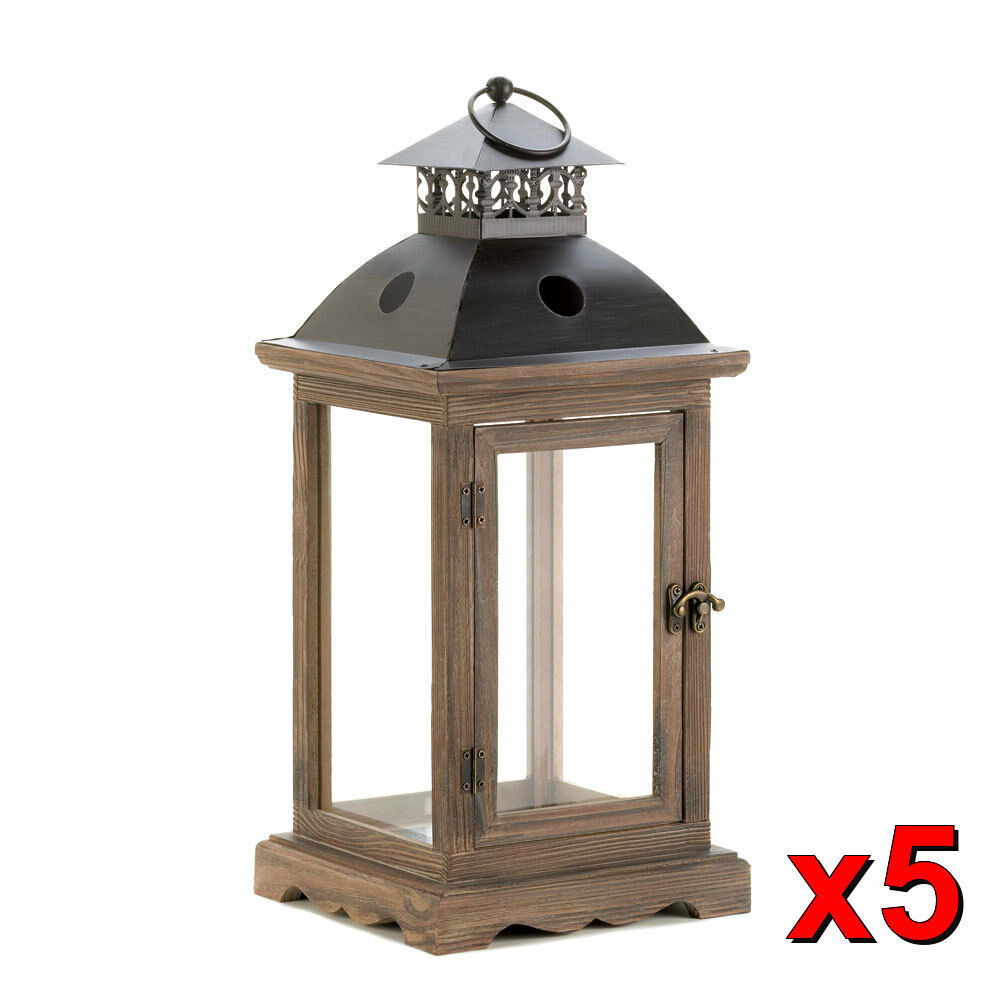 Large monticello rustic pillar candle lantern