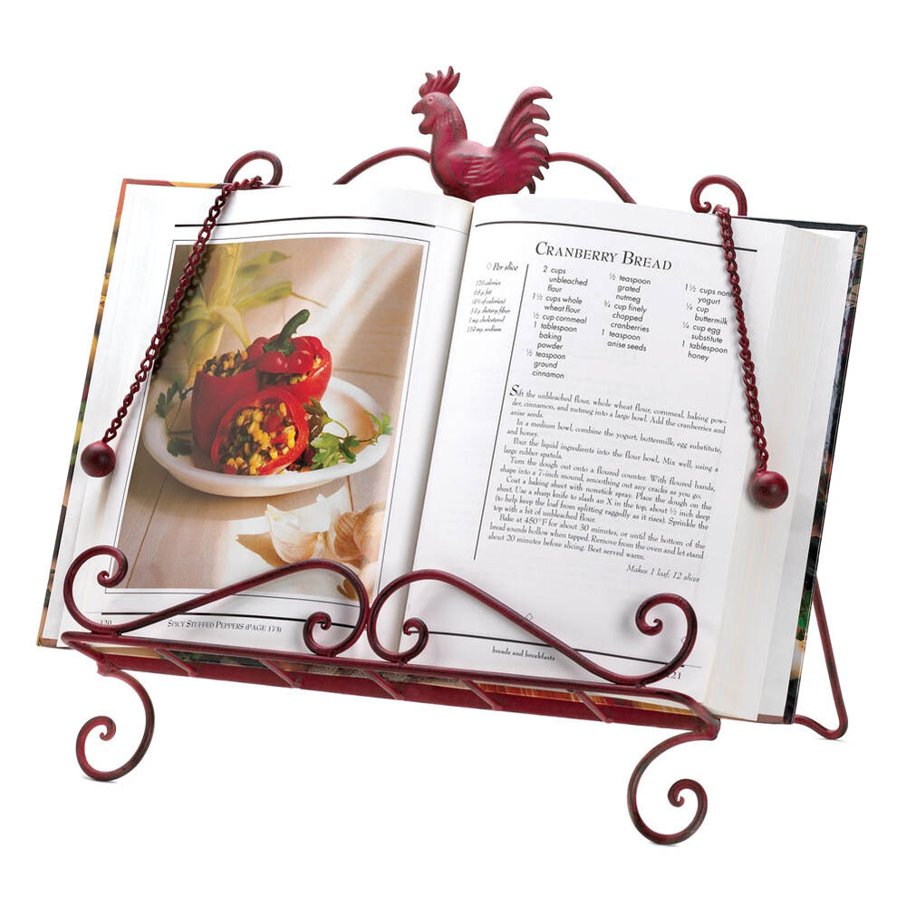 Brand new kitchen book holder red rooster cookbook stand recipe book display ebay - Cream recipe book stand ...