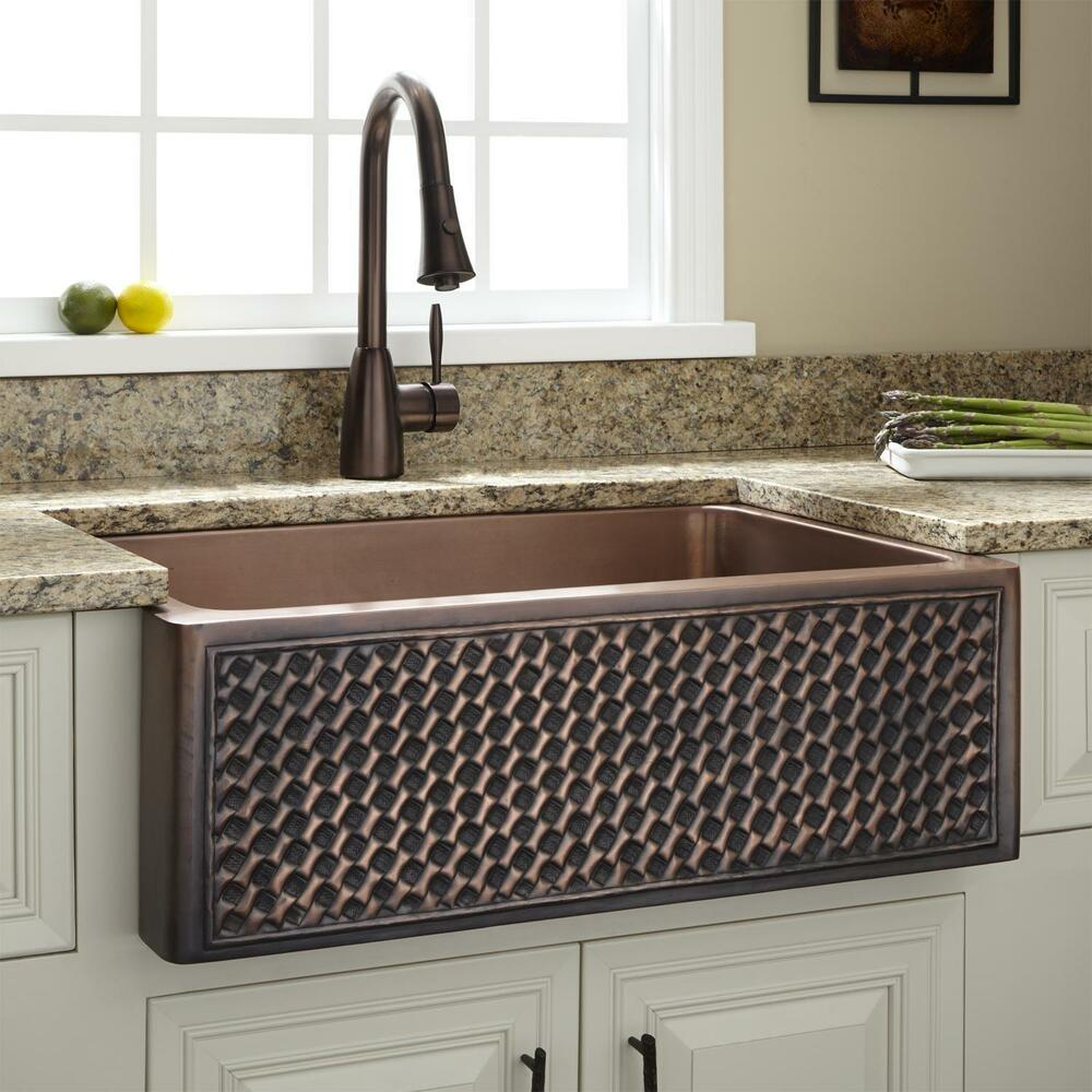 "Signature Hardware 30"" Weave Design Copper Farmhouse Sink"