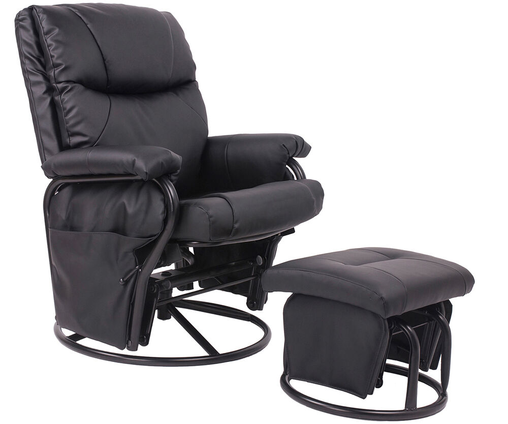 Pu Leather Baby Nursery Swivel Glider Recliner Rocking