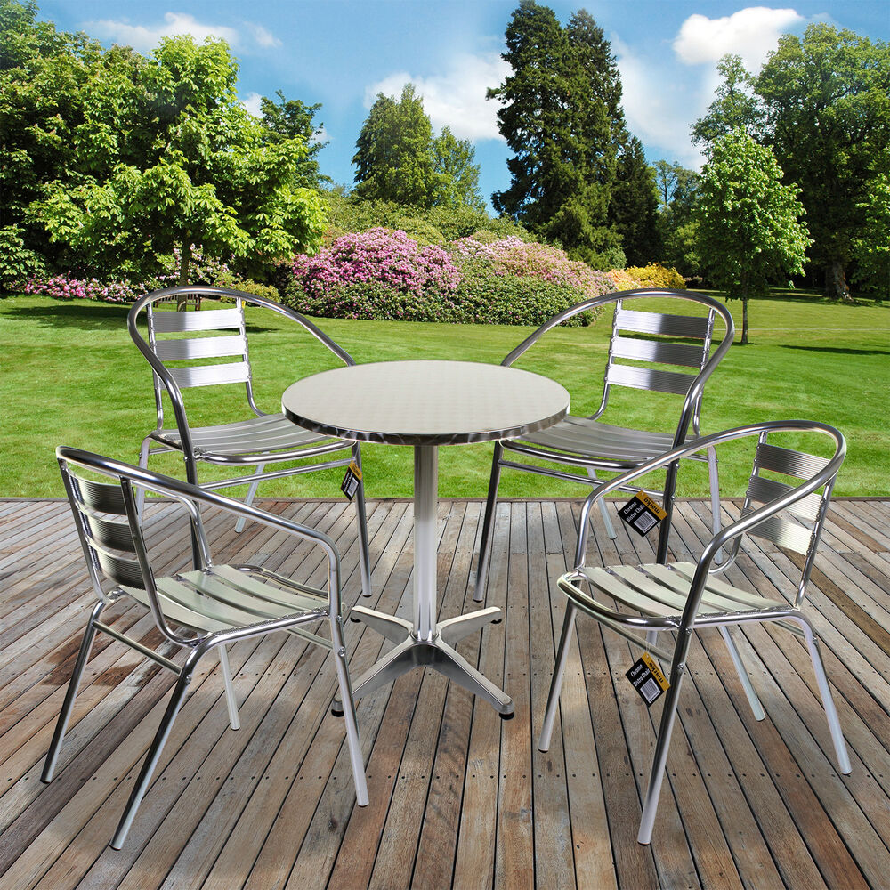 Aluminium Lightweight Chrome Bistro Sets Round Square